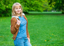 Woman portrait at spring park Royalty Free Stock Photography
