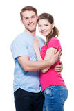 Portrait of attractive smiling couple. Portrait of attractive smiling couple isolated on white background. Attractive men and women being playful royalty free stock photos