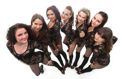 Portrait of attractive smiling go-go dancers Stock Photo