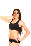 Portrait of attractive sport young woman on white background Royalty Free Stock Photo