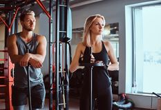 Portrait of an attractive sportive couple posing while leaning on barbells, looking away in a fitness club or gym. Portrait of an attractive sportive couple stock photography