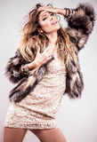Portrait of attractive stylish woman in fur against grey background. Royalty Free Stock Photos
