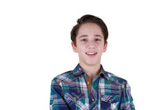 Portrait of attractive teen boy being photographed in a studio.  Stock Photography