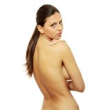 Portrait of the attractive topless girl Stock Photography