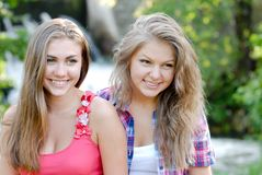 Portrait of attractive two best friend having fun Stock Images