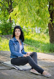 Portrait of attractive woman. Relax on nature Royalty Free Stock Photography