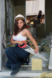 Portrait of attractive woman on construction site Stock Photos