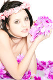 Portrait of attractive woman face with flowers Royalty Free Stock Images