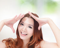 Portrait of attractive woman happy smiling Stock Image