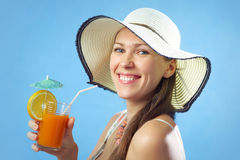 Portrait attractive woman in hat Stock Image
