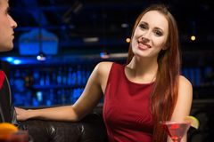 Portrait of an attractive woman in a nightclub Royalty Free Stock Image