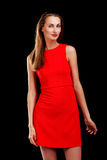 Portrait of attractive woman in red dress Royalty Free Stock Photos