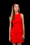 Portrait of attractive woman in red dress Stock Photo