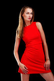 Portrait of attractive woman in red dress Royalty Free Stock Photo
