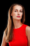 Portrait of attractive woman in red dress Royalty Free Stock Image