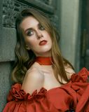 Portrait of an attractive woman in red. Fashion photo royalty free stock photos