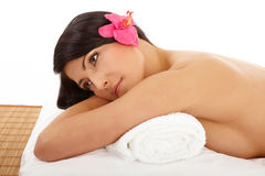 Portrait Of Attractive Woman Relaxing Spa Stock Image