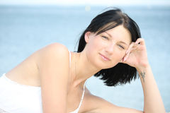 Portrait of attractive woman on the seaside Stock Image