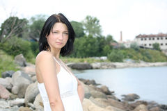 Portrait of attractive woman on the seaside Stock Photography