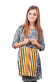 Portrait of attractive woman with shopping bag Stock Photography