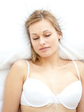 Portrait of an attractive woman sleeping Royalty Free Stock Image