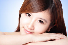 Attractive woman smile face with clean skin Royalty Free Stock Image
