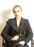 Portrait attractive woman in suit holding Stock Image