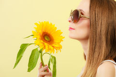 Portrait attractive woman with sunflower Royalty Free Stock Images