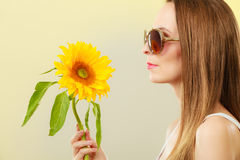 Portrait attractive woman with sunflower Royalty Free Stock Image