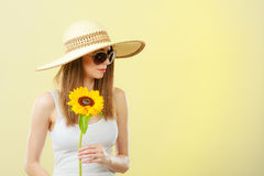 Portrait attractive woman with sunflower Royalty Free Stock Photo