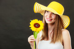 Portrait attractive woman with sunflower Royalty Free Stock Photography