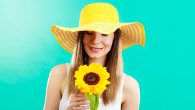 Portrait attractive woman with sunflower Stock Image