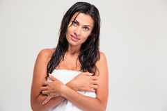 Portrait of attractive woman with towel and wet hair Royalty Free Stock Image