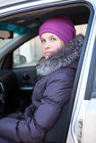 Portrait of attractive woman in winter clothes Royalty Free Stock Image