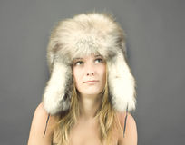 Portrait of attractive woman in winter style Royalty Free Stock Images