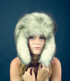 Portrait of attractive woman in winter style Royalty Free Stock Photo