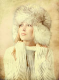 Portrait of attractive woman in winter style Royalty Free Stock Photos