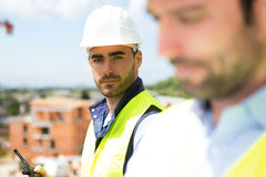 Portrait of an attractive worker on a construction site Royalty Free Stock Photography