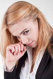 Portrait of attractive young blonde businesswoman smiling Royalty Free Stock Photos
