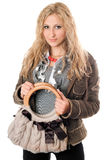 Portrait of attractive young blonde with a handbag Royalty Free Stock Photos