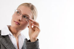 Portrait of an attractive young businesswoman. With glasses Stock Image