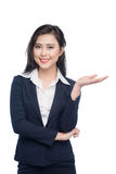 Portrait of an attractive young businesswoman showing by hands i Stock Photo