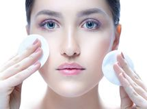 Woman beauty face cotton disc royalty free stock images