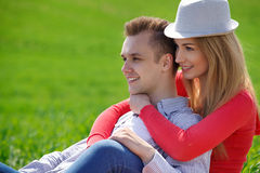 Portrait of attractive young couple in love outdoors. Stock Photo