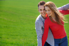 Portrait of attractive young couple in love outdoors. Royalty Free Stock Image