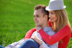 Portrait of attractive young couple in love outdoors. Stock Images