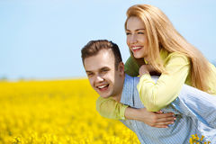 Portrait of attractive young couple in love outdoors. Stock Image