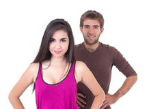 Portrait of attractive young couple posing Stock Photos