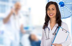 Portrait of attractive young female doctor. Stock Photo