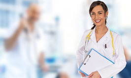Portrait of attractive young female doctor. Stock Images